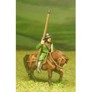 Mounted Sergeants, in Assorted Helms & Mail Coat, with Large shield & Lance on Unarmoured Horse