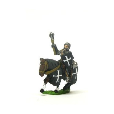 Mounted Knights, 1100-1200AD with Kite Shield & Mace, Axe or Sword on Barded Horse