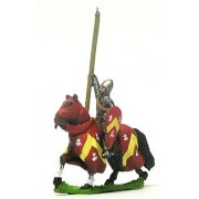 Mounted Knights, 1150-1200AD with Kite Shield & Lance, in Mail Surcoat & Conical Helms, on Barded Horse
