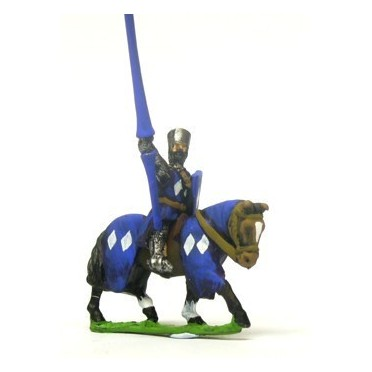 Mounted Knights, 1150-1200AD with Large Shield & Lance, in Flat Top Helm & Mail Surcoat, on Barded Horse