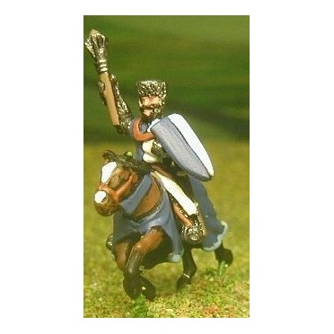 Mounted Knights, 1150-1200AD with Large Shield & Mace, Axe or Sword, in Mail Coif over Flat Top Helm on Unarmoured Horse