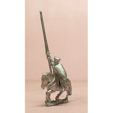 Mounted Knights, 1150-1200AD with Large Shield & Lance, in Mail Coif over Flat Top Helm, on Unarmoured Horse
