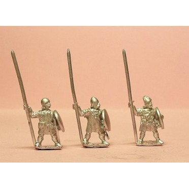 Medium Infantry in assorted helms with Long Spear & Round Shield