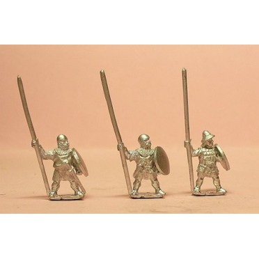 Heavy Infantry in assorted helms with Long Spear & Round Shield