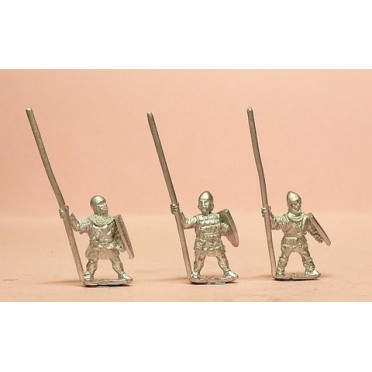 Heavy Infantry in assorted helms with Long Spear & Large Shield
