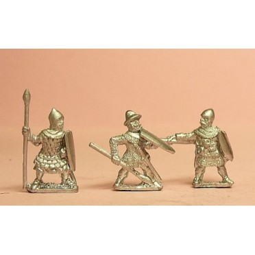 Heavy Spearmen, various dress, assorted shields