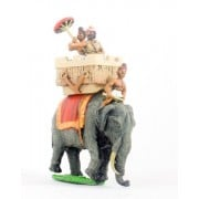 Classical Indian: General in howdah with umbrella holder mounted on elephant with driver
