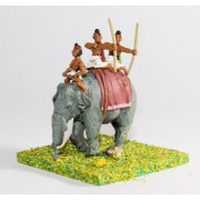 Classical Indian: Elephant with driver & two archers