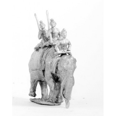Classical Indian: Elephant with driver & two javelinmen