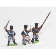 Command: Officer, Standard Bearer and Drummer, attacking poses