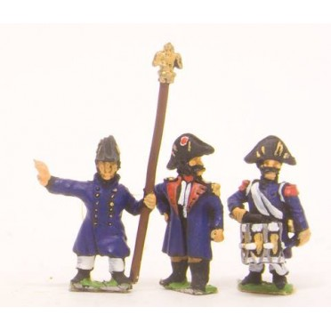French: Old Guard: Command: Officers Standard Bearers & Drummers in Greatcoat & Chapeau