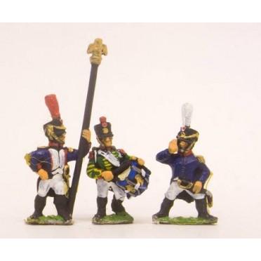 French: Command: Officer, Standard Bearer & Drummer advancing