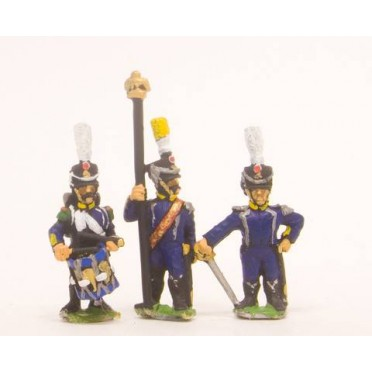 French: Command: Light Infantry(Leger) Officer, Standard Bearer & Drummer, advancing