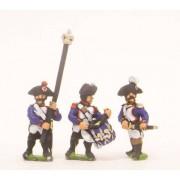 French: Line Infantry 1793-1806: Command: Officer, Standard Bearer & Drummer in Bicorne, advancing