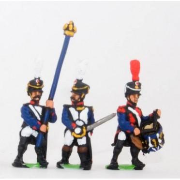 French: Command: Officer, Standard Bearer & Drummer in Shako, advancing