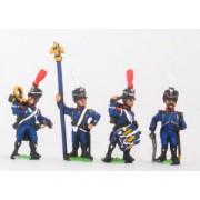 French: Light Infantry (Leger): Command: Officer, Standard Bearer, Drummer & Hornblower in Shako