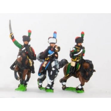 French: Cavalry: Command: Guard Chasseurs Officer, Standard Bearer & Trumpeter