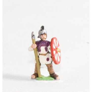 Middle Imperial Roman: Assorted Lanciarii or Auxilia Palantina in helmets, at ease
