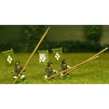 Samurai: Ashigaru in assorted headgear with Yari & back banner