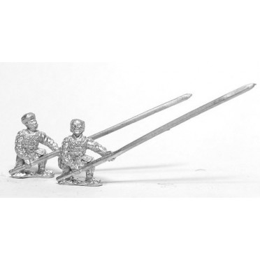 Samurai: Ashigaru, assorted heads with Yari & back banner, kneeling