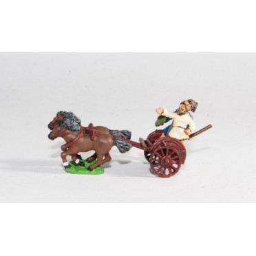 Scots Irish: Two horse Chariot with javelinman and driver