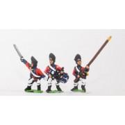 AWI British: Command: Grenadier Officer, Standard Bearer & Drummer pas cher