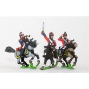AWI British: Command: Light Dragoon, Officer, Standard Bearer & Trumpeter pas cher