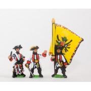 Seven Years War Austrian: Command: German Fusilier Officer, Standar Bearer & Drummer pas cher