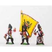 Seven Years War Austrian: Command: German Grenadier Officer, Standard Bearer & Drummer pas cher