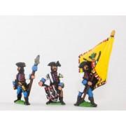 Seven Years War Austrian: Command: Hungarian Fusilier Officer, Standard Bearer & Drummer pas cher