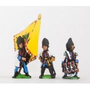 Seven Years War Austrian: Command: Hungarian Officer, Standard Bearer, Drummer pas cher