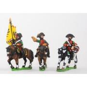 Seven Years War Austrian: Command: Dragoon Officer, Standard Bearer & Drummer pas cher