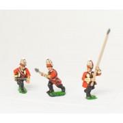 Seven Years War British: Command: Grenadier Officer, Standard Bearer & Drummer, advancing, with variants pas cher