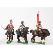 Seven Years War British: Command: Light Dragoon Officer, Standard Bearer & Musician pas cher
