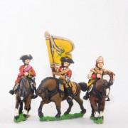Seven Years War British: Command: Dragoon Officer, Standard Bearer & Drummer pas cher