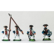 Seven Years War French: Command: Fusilier Officer, Drummer & Standard Bearer with bare flagpole only (no flag) pas cher