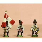 Seven Years War French: Command: Grenadier Royaux Officer, Standard Bearer & Drummer pas cher