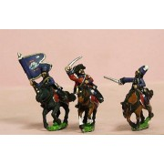 Seven Years War French: Command: Hussar Officer, Standard Bearer & Trumpeter in Mirliton pas cher