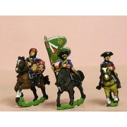 Seven Years War French: Command: Dragoon Officer, Standard Bearer & Drummer in Bonnet pas cher