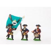 Seven Years War Prussian: Command: Musketeer Officer, Standard Bearer & Drummer pas cher
