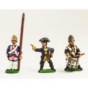 Seven Years War Prussian: Command: Fusilier Officer, Standard Bearer (bare flag pole only - no cast flag) & Drummer pas cher
