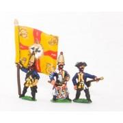 Seven Years War Prussian: Command: Grenadier Officer, Standard Bearer & Drummer pas cher