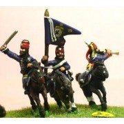 Seven Years War Prussian: Command: Hussar Officer, Standard Bearer & Trumpeter in Mirliton pas cher