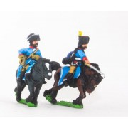 Seven Years War Prussian: Command: 2 Hussar Officers & Trumpeter pas cher