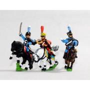 Bavarian 1805-14: Command: Hussar Officer, Standard Bearer & Trumpeter pas cher
