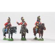 British Cavalry: Command: Heavy Dragoon Officer, Standard Bearer & Bugler pas cher