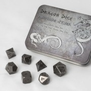Metal Dragon Dice Set - Antique Silver