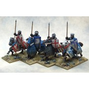 Mounted Crusading Knights (Open Helms) (Lance Upright) pas cher