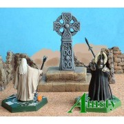 Celtic Stone Cross on Plinth pas cher